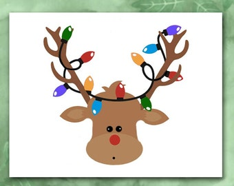 Christmas Cards, Rudolph Reindeer With Christmas Lights Comical Reindeer, Red Nose Antlers, Deer Xmas Cards Choose Your Saying/Holiday Cards