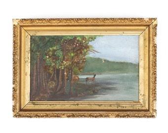 Antique c1900s Folk Art Deer Nature Framed Painting Oil Signed New Haven NY