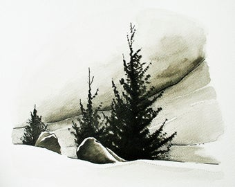 On the Mountainside - an original pen and ink drawing