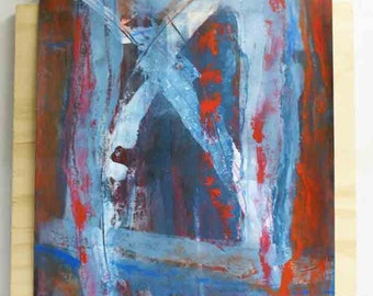 NEW: Abstract painting in layers - original - on paper - red blue white