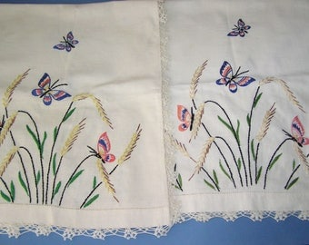 2 Vintage Embroidered Table Runners Colorful Butterfly's Long Size Matched Set