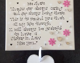 Personalised Sister In Law Friend Thank You Custom Poem Gift Plaque