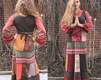 SALE Eco Maxi Dress, Size S/M, Eco Clothing, boho clothing, hippie dress, patchwork dress, eco maxi dress, long dress,  neutral dress , Zasr