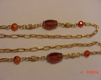 Vintage Sarah Coventry Amber Beads Necklace   16 - 758