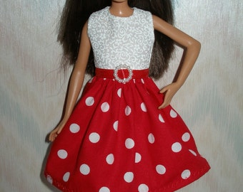 "Handmade 10.5"" teen sister fashion doll clothes - red and white polka dot dress"
