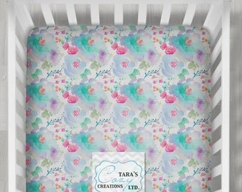 Indy Bloom Blue Crib Sheet- Designer Minky Crib Sheet -Designer Print Change Pad Cover- Minky Floral Sheet- Pink Floral Bedding -Boppy Cover
