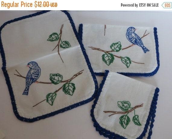 ON SALE Vintage Runner-Embroidered-Vanity-Dresser Set-Shabby Cottage Chic-Bluebirds-3 piece Set