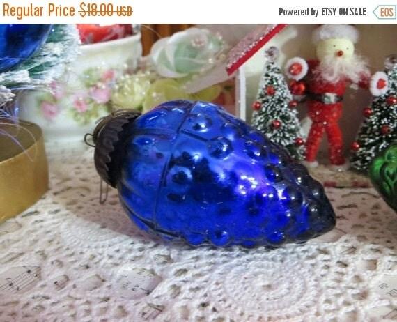 ON SALE Vintage Cobalt Grapes German Style Kugel Ornament