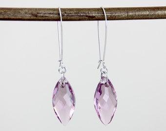 Light Purple Big Swarovski Crystal Silver Dangle Earrings - Simple Fancy Purple Marquise Drop Earrings