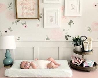 Baby Crib Bedding - Mint Fitted Crib Sheet / Mini Crib Sheet / Blue Changing Pad Cover / Floral Crib Sheet / Fitted Baby Sheet / ETSY Baby