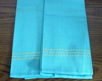 2 Vintage Huck Towels Turquoise Color With Yellow Swedish Weave