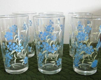 6 Vintage Flat Tumblers Blue White Floral Leaf Spray Design Hold 10 Ounces Each Circa 1960's
