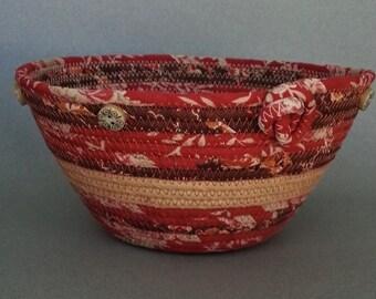 Calico Basket, coiled basket, clothesline basket