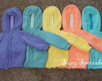 Knitted Hooded Baby Sweater with Back Zipper in Colors