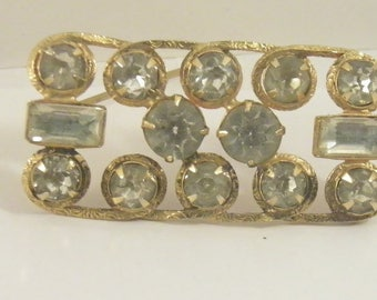 vintage european gold plated crystal clear rhinestone inverted baguette 4029