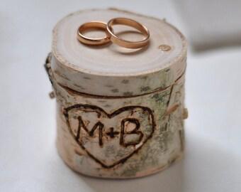 personalized birch box  • burn birch wood  • ring bearer pillow  •  ring box for wedding decor