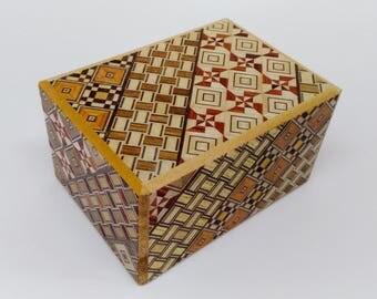 Japanese Puzzle box (Himitsu bako) 3 sun (3.50inch) Rotary 18steps Yosegi