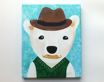 Hipster Polar Bear, Whimsical Bear Art, original paintings, art for kids room