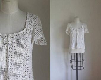vintage 1970s crochet blouse - MAIDEN LACE open knit top / S