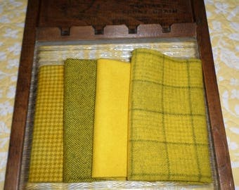 PRIMITIVE SUNFLOWERS, Hand Dyed, Felted Wool Bundle for Rug Hooking, Wool Applique,Penny Rugs,Textile and Fiber Arts