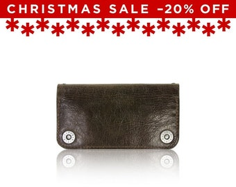 Christmas Sale -20% Off - - iPhone 6+, iPhone 7+ RETROMODERN aged leather wallet - - DARKBROWN