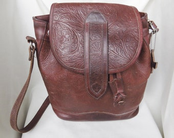 GENUINE LEATHER Vintage Bucket Style Tooled Bag