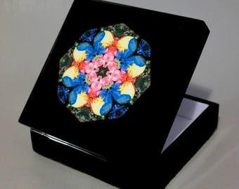 Music Box Keepsake Box Trinket Box Rainbow Rose Mandala Boho Sacred Geometry Hippie Kaleidoscope Unique Gift For Her Flamboyant Harmony