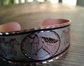 50s Copper Cuff Bracelet with Horses—Colors are Copper, Silver, and Black