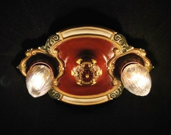Vintage Riddle 2 Bulb Ceiling Fixture with Leaves and Berries Restored