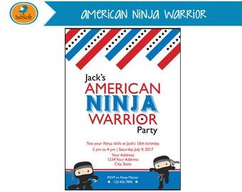 American Ninja Warrior, Ninja Birthday, Karate, Boy Invitation, Digital Invitation, Ninja Invitation, Birthday Party Printable