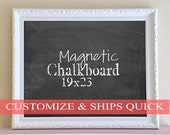 Holiday Gift MAGNETIC CHALKBOARD Hostess Gift for Boss Gift for Women White Framed Chalkboard Family Message Center Quote of the Day Black