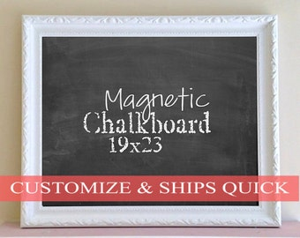 Mothers Day Gift MAGNETIC CHALKBOARD Hostess Gift for Teacher White Framed Chalkboard Family Message Center Quote of the Day Blackboard Wall