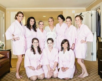 Set of 11 Personalized Wedding Spa Robes Bridesmaids Gift front and back embroidery is included on all robes