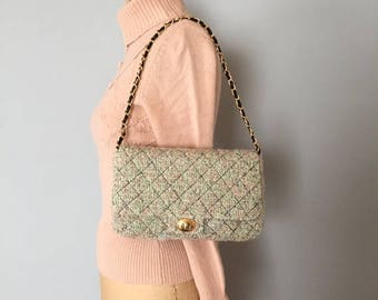 25% OFF SALE ... 90s boucle quilted purse | chain handle purse