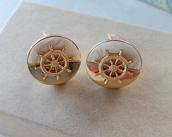 Mother of Pearl Cufflinks,  Ship's Wheel, Vintage  Cufflinks, Gift for Him