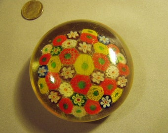Vintage Murano Millefiori Glass Paperweight Flower Floral Canes 8949