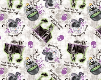 Disney Fabric Villians Woven Cotton Quilt and Craft Fabric By the Yard