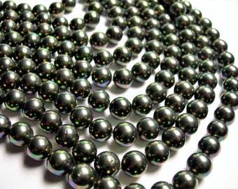 Shell pearl 10 mm round  mystic dark pearl Ab - 1 full strand - 39 beads - SPT42