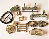 Vintage Diamante Repurpose Lot... Mixed Buckles and Parts