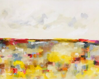Yellow Abstract Landscape Painting- Mosaic Sunshine 48 x 30