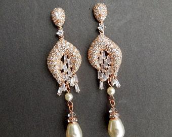 Rose Gold pearl Bridal Earrings Rose Gold Chandeliers Earrings Ivory swarovski Pearl Bridal Wedding Earrings Pearl Crystal Earrings LEIGH