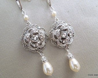 Ivory Pearl earrings Bridal Wedding Earrings Rhinestone Wedding Bridal Earrings Rose Chandeliers earrings vintage style earrings ROSELANI