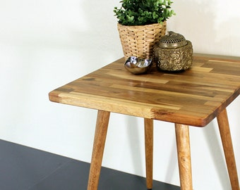 Acacia Patchwork Wood End / Side Table - Modern Furniture Rustic Mid Century Style