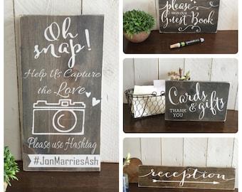 Wood Wedding Sign  Set - Set of 4 Wedding Signs - Wedding  Sign Package - Wood Wedding Signs - Wedding Reception Signs  - Rustic Wood Sign -