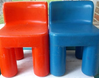 Vintage 1990's Little Tikes Chubby Red or Blue Chairs Child Sized