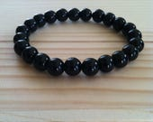 "Handmade Genuine Black Obsidian Bracelet, Natural Black Obsidian Gemstone Protection Stretch Bracelet, Cleansing, Balance  7"" Bracelet"