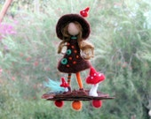 Waldorf inspired Needle felted Pixie Fairy on bark with mushrooms Home decor Mobile