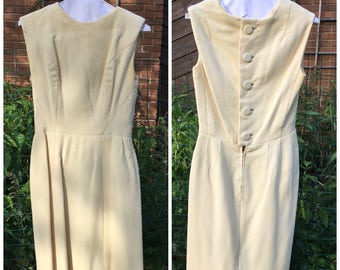 Vintage 60s Dress / White Wool Wiggle Dress / Marshall Field England / Little White Dress / LWD