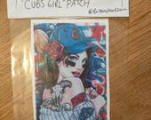 Cubs Pin Up Girl Patch - Sew On Patch ( Cubs 2016 World Series Championship Patch) Tattoo Art Chicago Pride Baseball