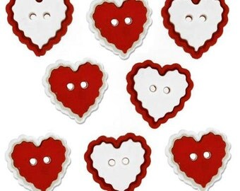Jesse James Button Valentine's Collection  Heart Of Mine Red White Heart Buttons